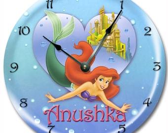 "10.5"" LIL MERMAID Ariel Wall clock, Nursery art, Personalized, custom room decor - 7189_FT"