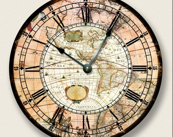 """10.5"""" Wall Clock - AMERICAS MAP wall CLOCK - vintage print - antique old world look - 7009"""