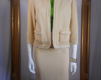 Vintage 1960's Kimberly Cream Colored Wool Suit - Size 4