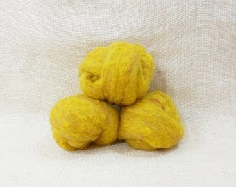 Needle felting wool batting in Marigold, wool batting, felting supplies, fleece wool batting in Marigold, golden wool, wool for spinning,