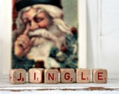 Vintage Letter Cubes JINGLE Christmas