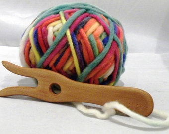 Knitting Fork/Lucet Kit with wooden handmade knitting fork and 50g multi-coloured 100% wool yarn