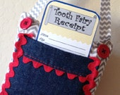 Tooth Fairy Pillow with Tooth Fairy Receipts Gray Chevron Blue Denim