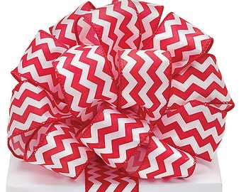 """5YDS x 1-1/2"""" Red & White Satin Zig Zag Lines Pattern Wired Edge RIBBON"""