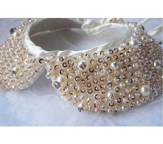 Elegant Pearl Rhinestone Crystal bead embroidery Peter Pan Collar