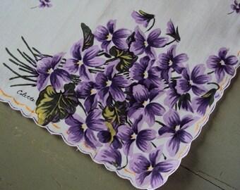 Vtg. Colette Purple Posy Hanky MWT