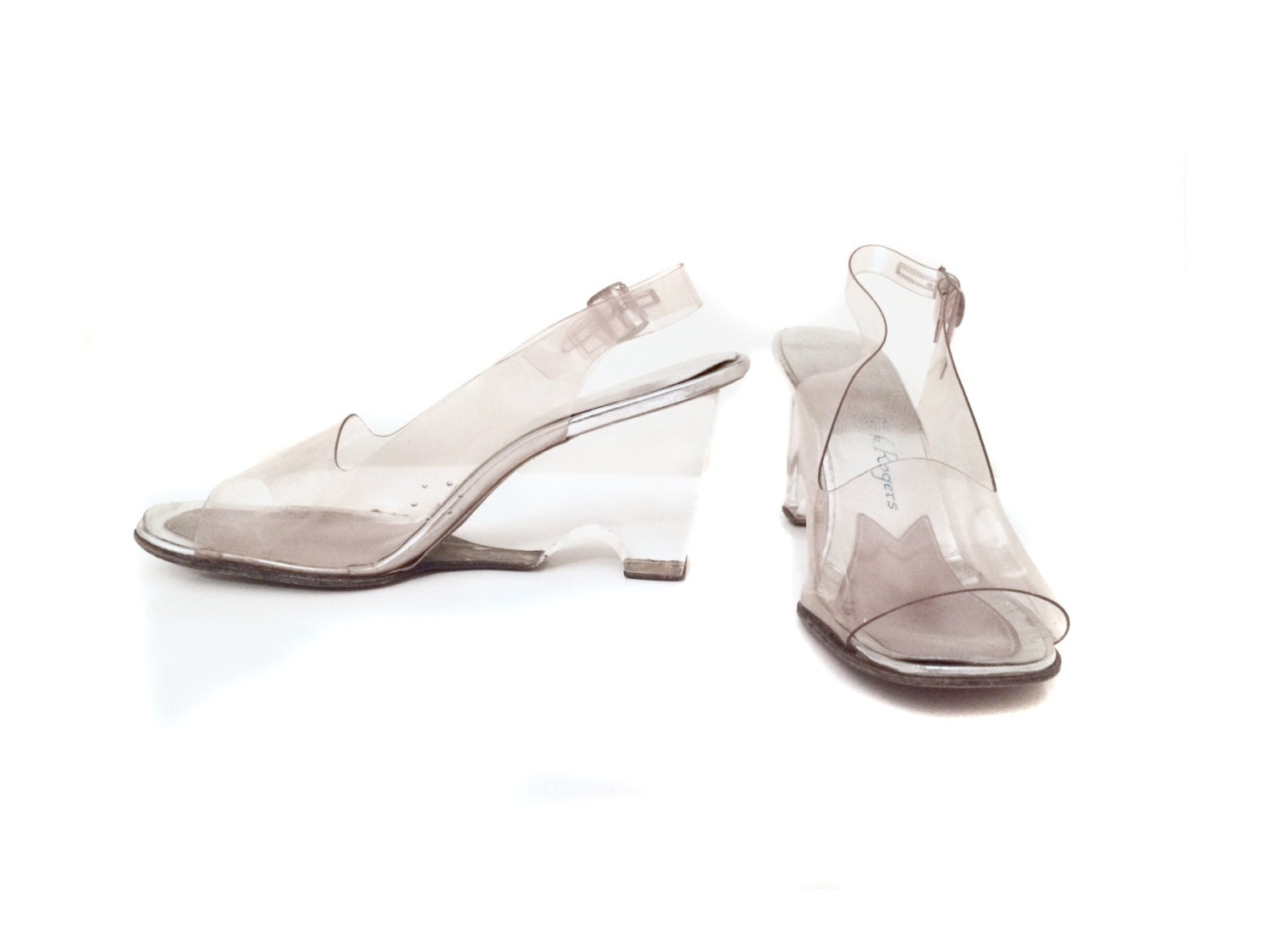 reserved for clear lucite wedge sandals with