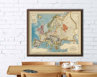 Old map of Europe - Giclee fine print -  Europe map archival reproduction