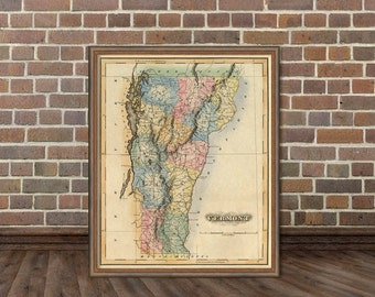 Vermont map - Vintage map of Vermont  - Old map restored
