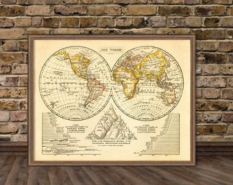 The World map - Old map of the world in two hemispheres - Vintage map restored fine print