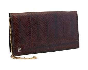 Vintage Brown Snakeskin Leather Clutch, Shoulder Bag