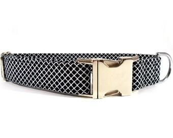 Dog Collar, CRISSCROSS in BLACK, Handmade Dog Collar