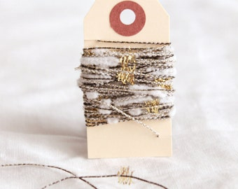 Gold and white tinsel chenille twine 6 yards - thin black and white twine with flags of metallic gold