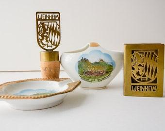 German Vintage Souvenir Collection - ashtray, match holder, cigarette holder and bottle cork, 4 Piece Weinheim,