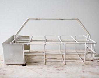 White Vintage Bottle Glass Wire Holder Glass Bottle Carrier Glass Carrier