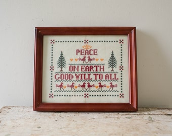Christmas Embroidery - Vintage Needle Point Peace on Earth Good Will to All Artwork - Embroidered Scene Christmas Framed Needle Point