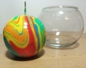 Large Round Multicolored Rainbow Marbled Candle