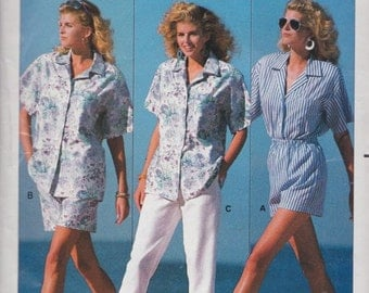 Butterick 6453 Misses' Shirt, Shorts and Pants Pattern, UNCUT, Size X Small, Small, Medium, Fast and Easy, Vintage 1988, Family Circle