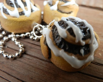 Miniature Cinnamon Roll Polymer Clay Pendant Charm For A Necklace Or Planner