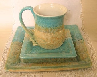 Square Pottery 3 Piece Place Setting, Handbuilt and Thrown Stoneware Coffee Mug and Plates, Turquoise and Sand