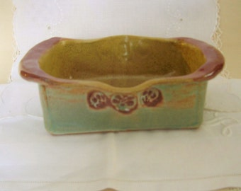 Hand Built Stoneware Pottery Loaf Baker with Handles in Antique Red, Green and Golden Brown, Baking Dish, Bread Baker