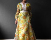 70s Yellow Orange Floral Kaftan Maxi Dress, Dolly Dress Small