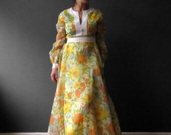 70s Yellow Orange Floral Kaftan Maxi Dress, Dolly Dress Small