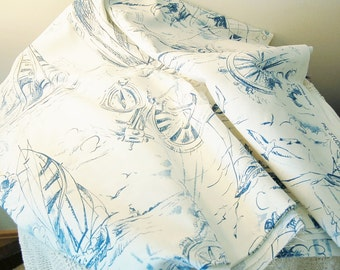 Blue White Toile Nautical Theme Smooth Sailing Broad Cloth Lighthouse Seagulls Ships