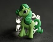 Green Pony Ring. Unicorn Ring. Green Horse Ring. Green Ring. Adjustable Ring. Handmade Ring. Button Ring. Silver Ring. Handmade Jewelry.