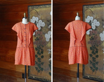 vintage orange confetti dot print mini dress / size small