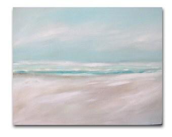 "Painting Acrylic Original, Morning Beach- Abstract Seascape, 24"" x 30"""