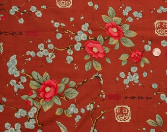Alexander Henry Cinnamon Brown Oriental Butterfly Blossom 2 yards
