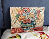Paint by number 1960s flowers in a bowl primitive impression