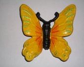 Cast Iron Butterfly / Monarch Butterfly / Home Decor / Garden Decor / Yellow / Orange / Green