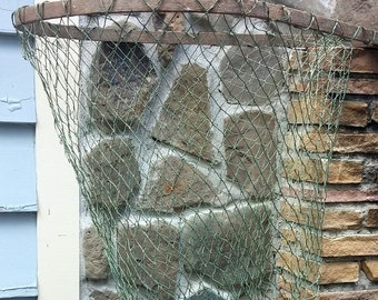 "Vintage Fishing Nautical Landing Net Long Wooden Handle 65"""" Primitive Beach Lake Oceanside Decor"