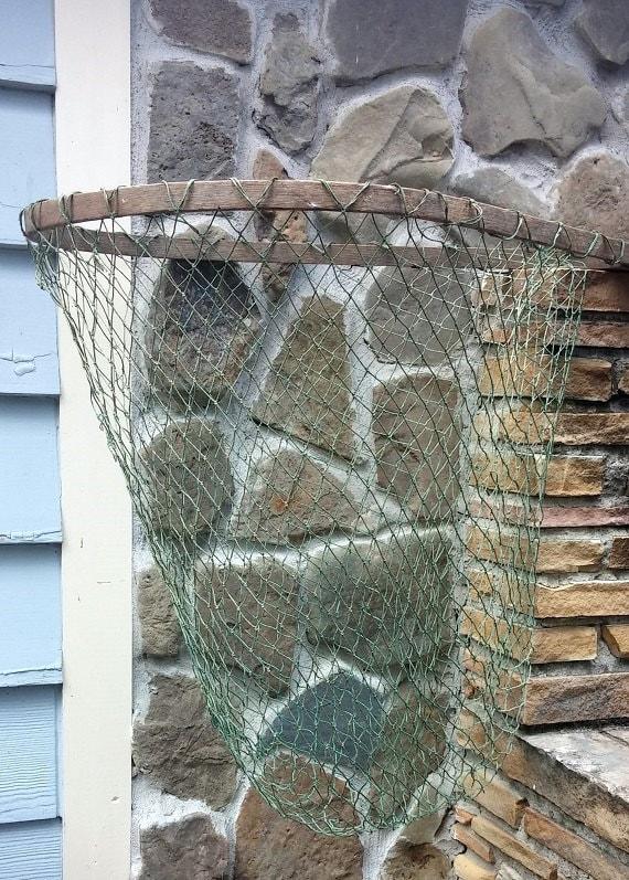Vintage fishing nautical landing net long wooden handle for Long handle fishing net