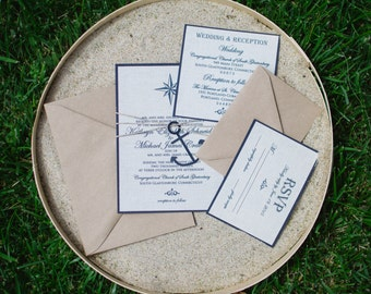 Nautical Wedding Invitation - Linen Wedding Invitation - Handmade Wedding Invitations - SAMPLE -