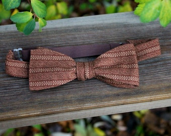 Brown striped Standard Size Bow Tie - Self-tie - Adjustable - Gift - Handmade