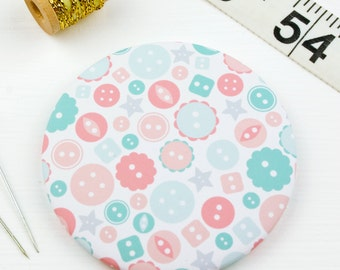 Button Pattern Pocket Mirror - Button Magnet - Gift for her - Craft lover - Sewing gift
