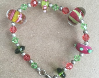 Pink and Green Glass Beads with Pink and Green Swarovski Crystal Bracelet