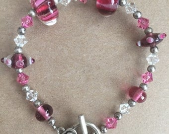 Pink Glass Beads with Pink and Clear Swarovski Crystals Bracelet