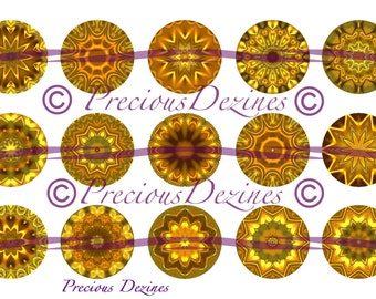 Gold Mandala collage sheet for making epoxy cabs, DIY jewelry, pendants, magnets, pinback buttons, etc, 4x6 download,  bottle cap images