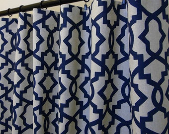 Navy Blue Beige Linen Sheffield Trellis Curtains, Rod Pocket 84 96 108 or 120 Long by 25 or 50 Wide