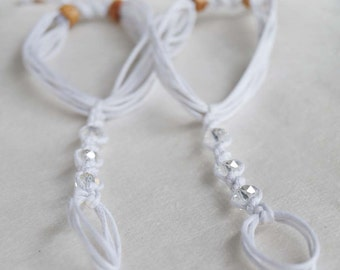 Baby Crystal Barefoot Sandals, Newborn Sandal, Baby Pearl Anklet, Christening Sandals, Photo Prop, 1 Pair