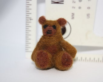 miniature teddy bear needle felted sculpture