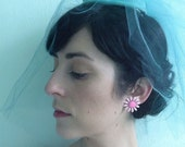 Vintage Turqouise Wedding Hat w/ Tulle Veil and Velour bow