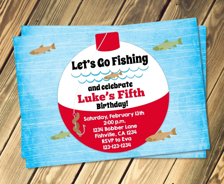 Fishing bobber birthday invitation print your own for Fishing birthday invitations
