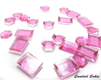 250 PINK EDIBLE SUGAR Jewels - Featured in Brides Magazine