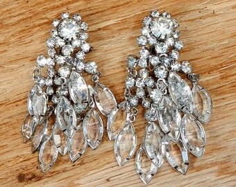 Gorgeous Vintage Rhinestone and Glass Large Drop Dangle Earrings Clip On