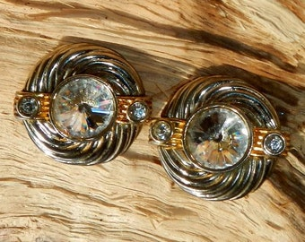 Vintage Gold and Silver Metal Clip On Earrings With Rivoli and Rhinestones